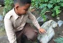 Mengidentifikasi jenis-jenis batu,  Siswa FH Sentul belajar di sungai